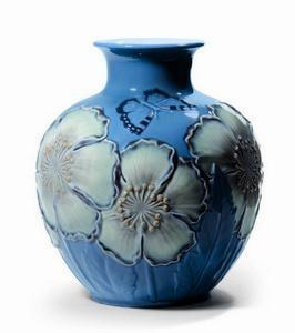 $1,600.00 Poppy Flowers Vase Blue 11.25H