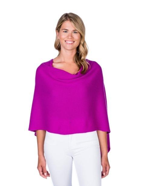 $125.00  100% Cashmere Dress Topper Poncho - Color Boysenberry
