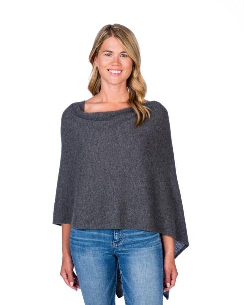 $125.00 100% Cashmere Dress Topper Poncho - Color Graphite