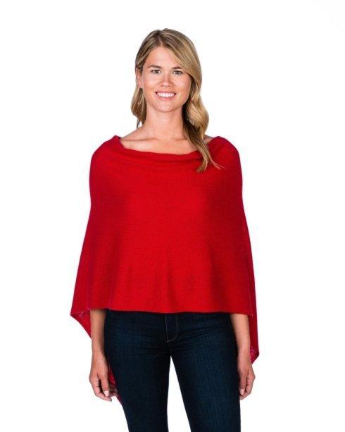 $125.00 100% Cashmere Dress Topper Poncho - Color Crimson
