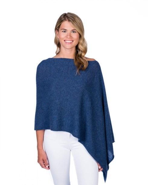 $125.00 100% Cashmere Dress Topper Poncho - Color Denim