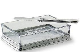 $95.00 Butter Dish Pewter & Glass
