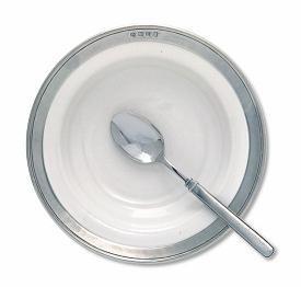 $118.00 White W/ Pewter Soup Bowl /