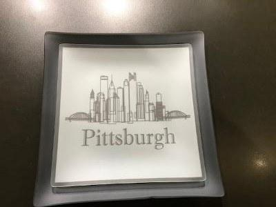 "$44.99  9"" Pittsburgh Skyline Frosted Glass Plate"