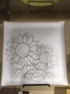 """$75.99 Plate with purpose 13"""" Sunflower"""