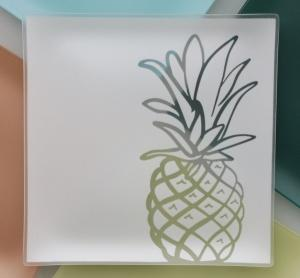 "$84.99  13"" Pineapple Glass Platter ""welcome"""