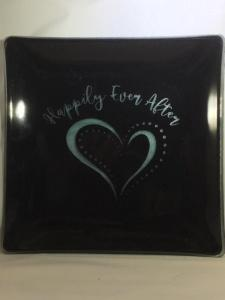 "$45.00 Patent Square 9"" Black Happily"