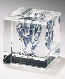 "Contemporary Concepts Exclusives   Square Lucite Cube for Glass From Wedding Ceremony 4"" $275.00"