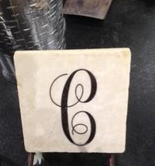 $49.99 Coasters Monogrammed Letter Script - set of 4
