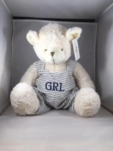 """$35.99 Teddy Bear in Grey Overalls -18"""" - includes custom Embroidery"""