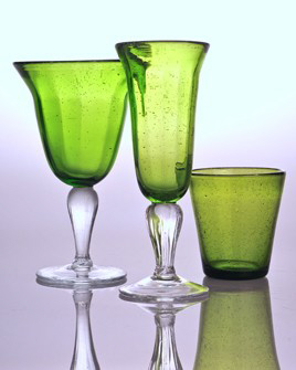 $25.00 green glass