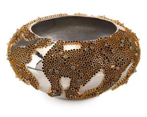 $915.00 BRASS AND STONE ENCASED BOWL