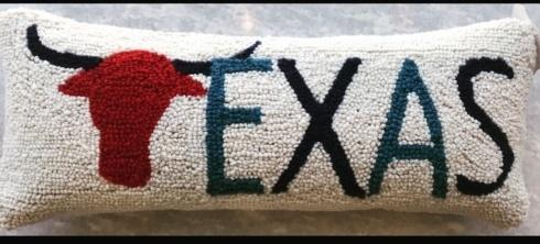 $45.00 Texas with Longhorn Icon Hooked Pillow
