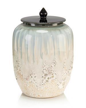 $225.00 WHITE AND SMALT BLUE LIDDED JAR III