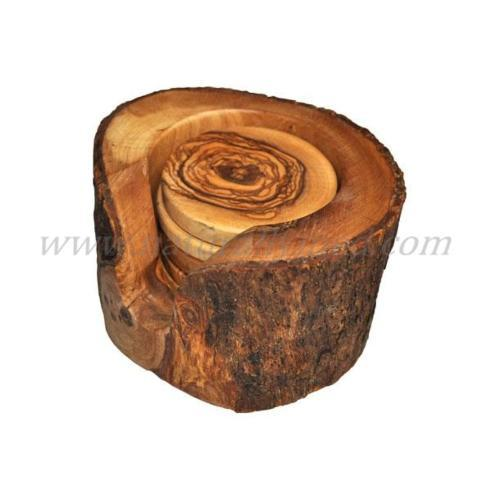 OLIVE WOOD COASTERS IN NATURAL HOLDER