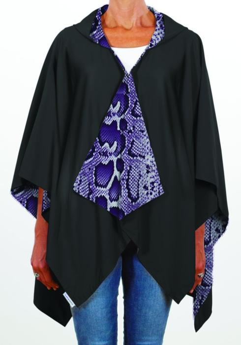 HOODED BLACK AND PURPLE SNAKESKIN RAINRAP
