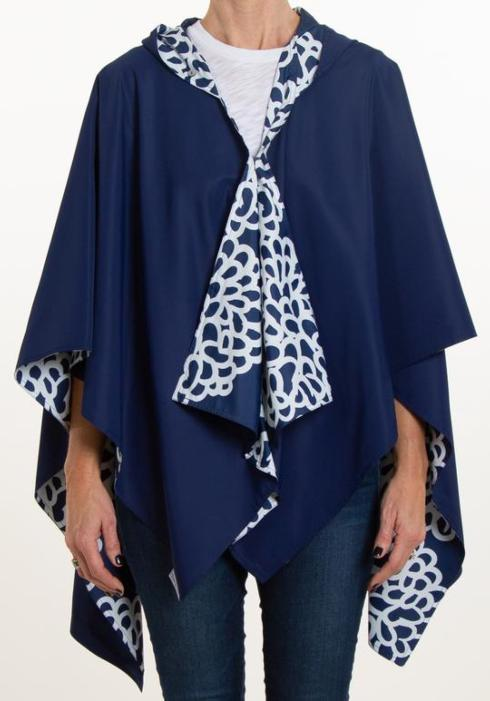 $68.00 HOODED NAVY AND NAVY CLOUDS RAINRAP