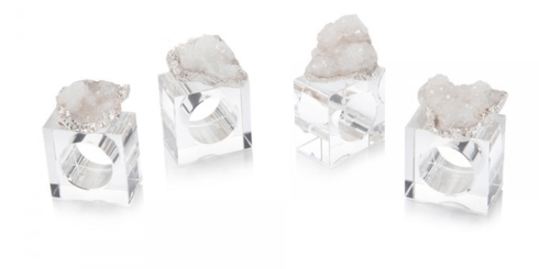 $125.00 SET OF 4 WHITE AND SILVER GEODE NAPKIN RINGS