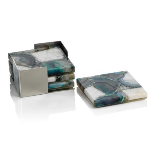 $124.00 AGATE GREEN/WHITE COASTERS SET OF 4