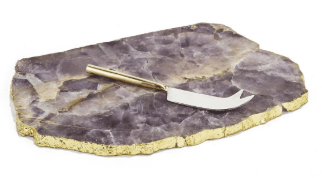 $120.00 AMETHYST TRAY WITH KNIFE