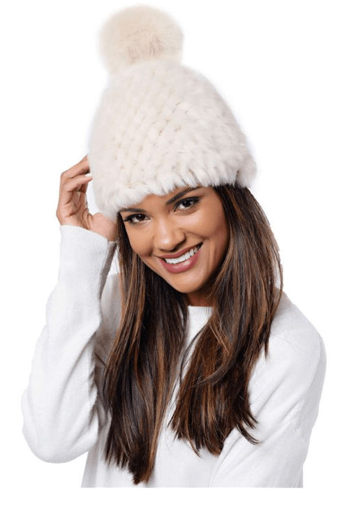 Knitted ivory beanie