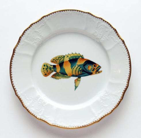 $305.00 Aqua/Gold Dinner Plate