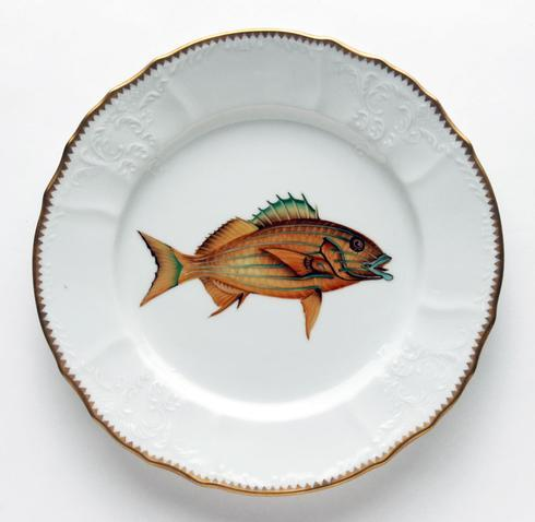 $405.00 Gold/Blue Stripes Dinner Plate