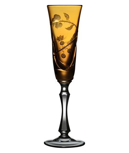 $268.00 Rainforest Amber Champagne Flute