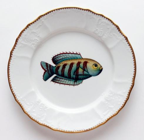 $405.00 Aqua/Brown Stripes Dinner Plate