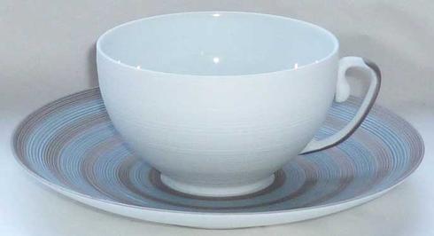 $83.00 Storm Blue With Metallic Grey Stripes Tea Saucer
