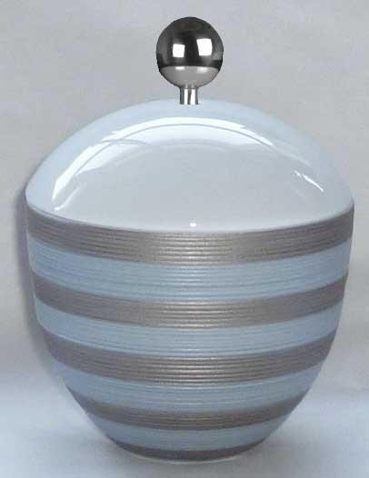 $236.00 Storm Blue With Metallic Grey Stripes Covered Sugar Bowl