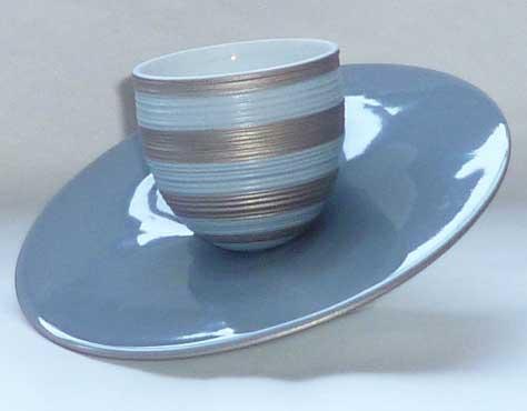 $173.00 Storm Blue With Metallic Grey Stripes Slider