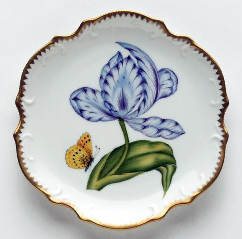 $300.00 Purple & Blue Tulip Bread & Butter Plate