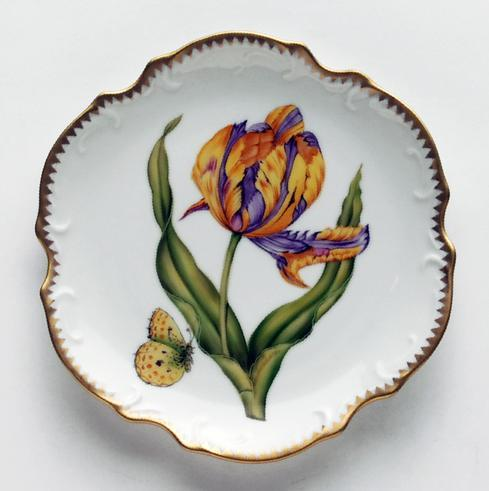 $300.00 Purple & Yellow Tulip Bread & Butter Plate