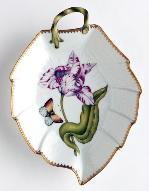 Anna Weatherley  Old Master Tulips Pink & White Tulip Leaf Dish $380.00