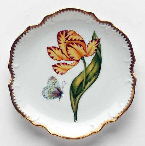 $300.00 Yellow & Red Tulip Bread & Butter Plate