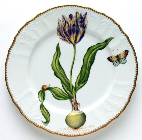 $538.00 Yellow & Purple Tulip Dinner Plate