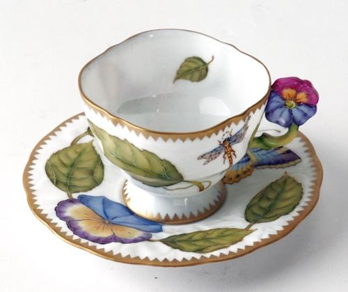 $498.00 Flower Handle Leaf/Butterfly Cup & Saucer