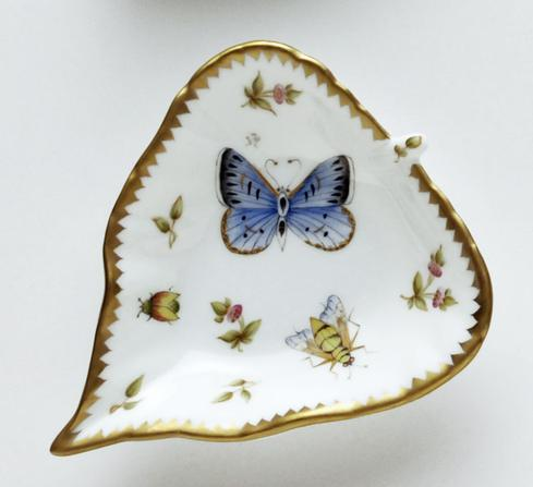 $149.00 Blue Butterfly, Bee, & Ladybug Leaf Ring Dish