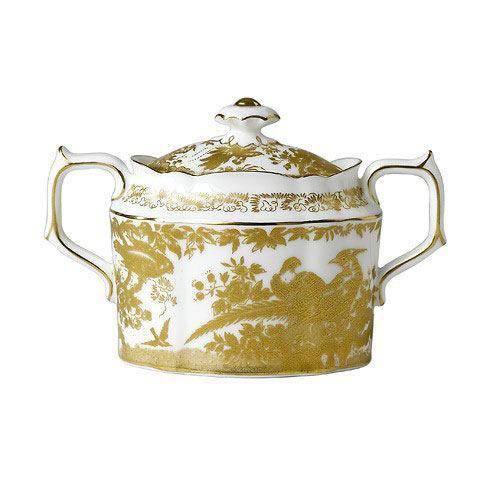 Royal Crown Derby  Aves - Gold Covered Sugar Bowl $510.00