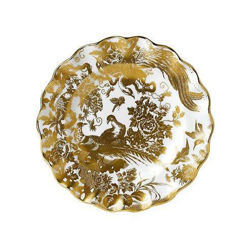 Royal Crown Derby  Aves - Gold Fluted Dessert Plate $270.00