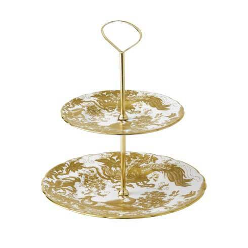 Royal Crown Derby  Aves - Gold Gift Boxed 2 Tier Cake Stand $445.00