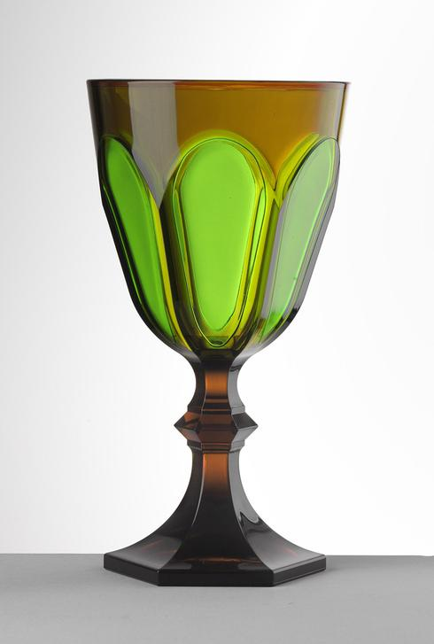 $25.00 Amber/Green Water Goblet
