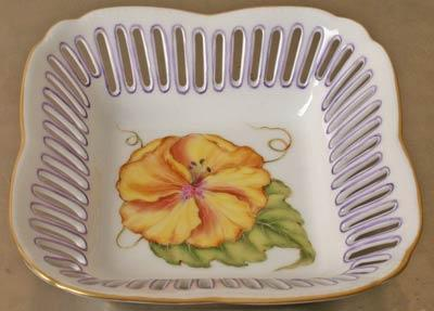 $158.00 Small Square Dish Flower Yellow