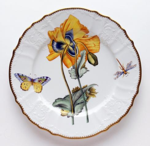 $440.00 Yellow Poppy Flower Dinner Plate