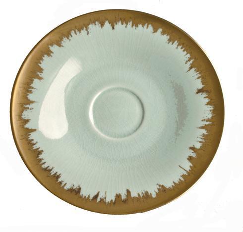 $54.00 Sea Glass Tea/Breakfast Saucer with Gold Brushstroke