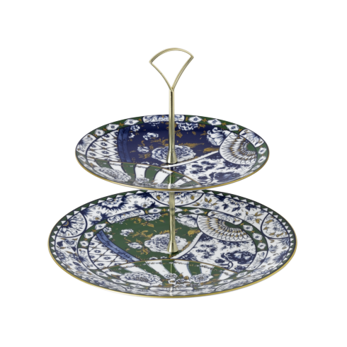 Royal Crown Derby  Victoria\'s Garden - Blue & Green Full Cover 2 Tier Cake Stand $175.00