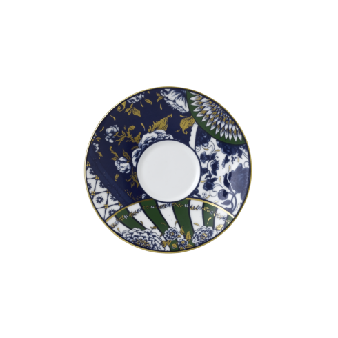 Royal Crown Derby  Victoria\'s Garden - Blue & Green Full Cover Saucer $48.00