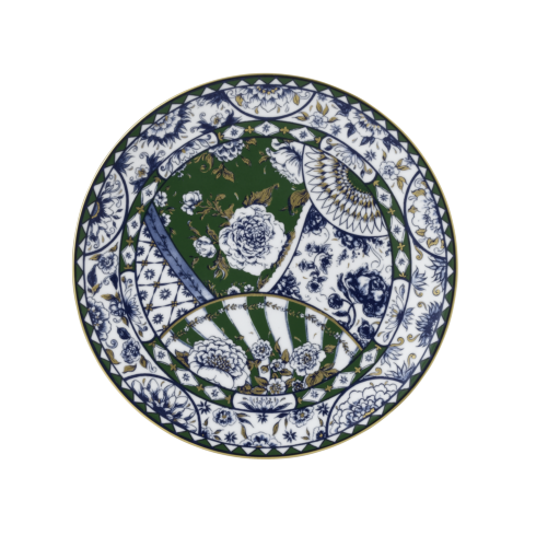 """Royal Crown Derby  Victoria\'s Garden - Blue & Green Full Cover Plate 10.7"""" $95.00"""
