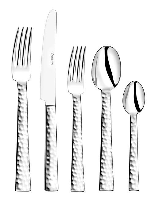 Couzon Stainless Steel Flatware Ato Hammered Five Piece Place Setting $65.00